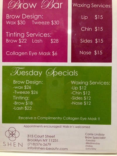 Brow Bar Prices