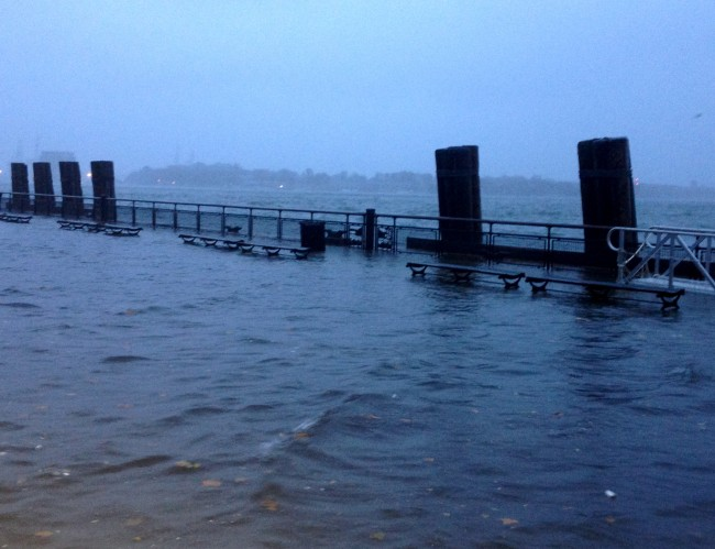Battery Park Sea Wall Completey Flooded by 6 p.m.