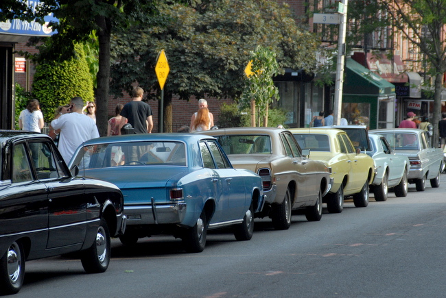 Mayberry Court Street -- For how long? Photo by Joshua Kristal for SBP. Cars line up for film shoot.