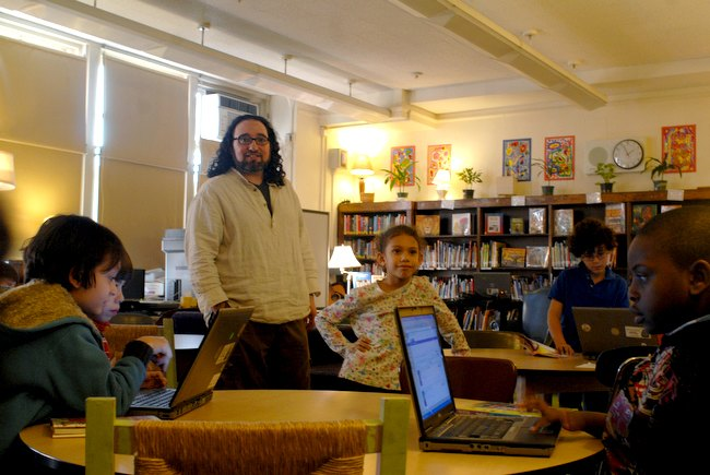 Librarian Adam Marcus at PS 32. The DOE announced a middle school moving in, causing an uproar.