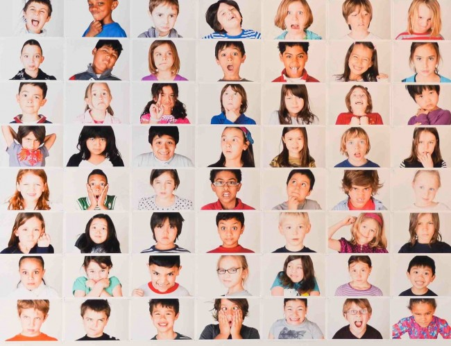 Artwork showing the faces of PS 58 kids. The piece was shown at Invisible Dog Gallery in February 2012.