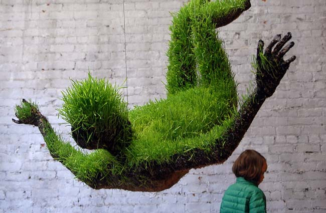 Grass covered art at the Invisible Dog Gallery